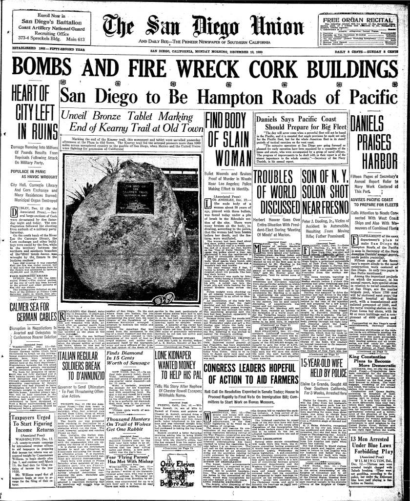 Front page of the San Diego Union from December 13, 1920.