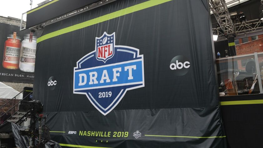 The ESPN set being constructed for the NFL Draft on Tuesday, April 23, 2019 in Nashville, Tenn. (AP