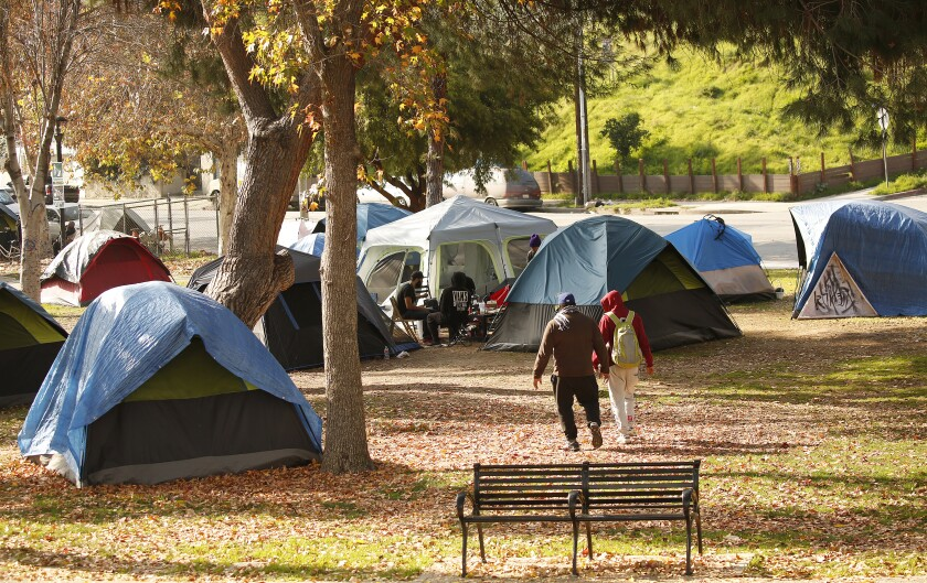 An encampment in Echo Park.