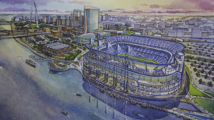 An artist's rendering of a proposed downtown St. Louis stadium for the Rams.