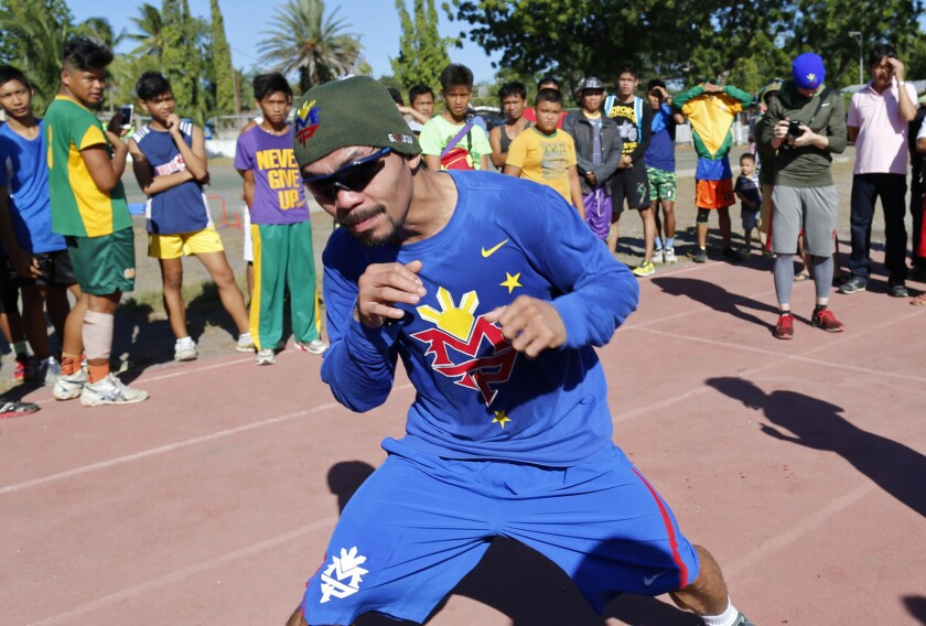 Manny Pacquiao wears Nike gear while training in General Santos, Philippines, on Jan. 27.