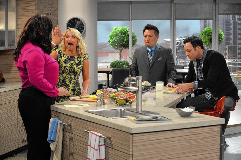 """""""Young & Hungry"""" performers, from left, Kym Whitley, Emily Osment, Rex Lee and Jonathan Sadowski."""