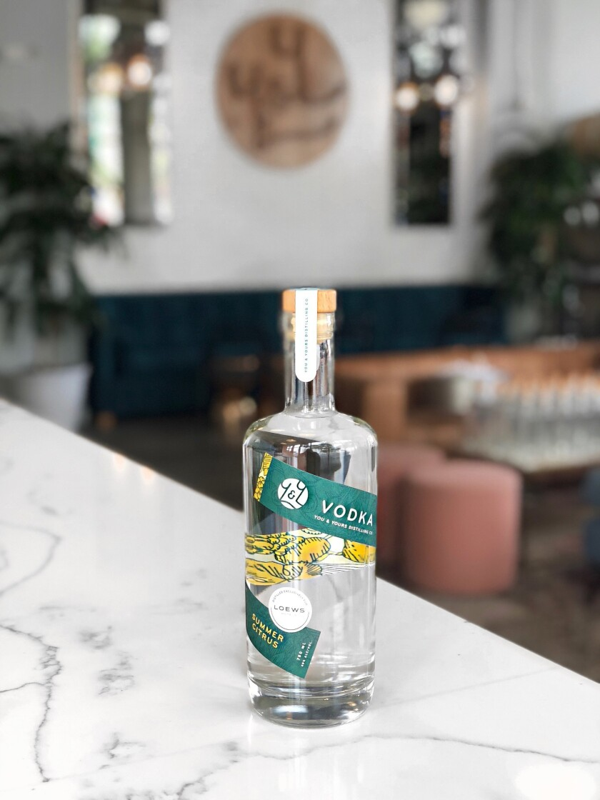 You & Yours Distilling Co. collaborated with Loew's Coronado Bay Resort on a citrus vodka exclusive to the hotel and distillery tasting room.