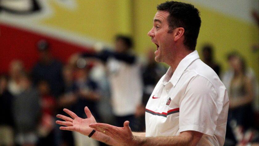 Santa Fe Christian basketball head coach Chad Bickley, 03/09/17. photo by Bill Wechter