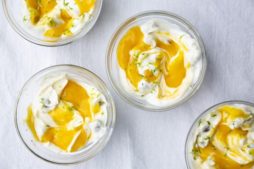 Mango yogurt pudding