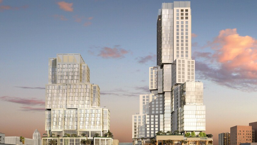 A rendering of the $1-billion Grand Avenue Project on Bunker Hill, which recently received some Chinese funding.