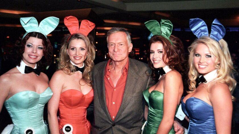 Hugh Hefner with Playboy bunnies at the Hard Rock Hotel in Las Vegas in March 2001.