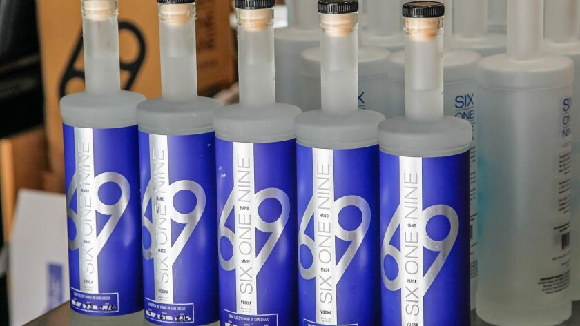 SAN DIEGO, CA October 12th, 2018 | Bottles of 619 Vodka on Thursday at 619 Spirits Distillery and Ta