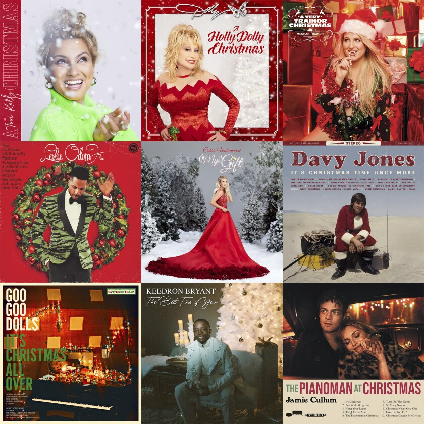 """This combination photo shows holiday album covers, top row from left, """"A Tori Kelly Christmas"""" by Tory Kelly, """"A Holly Dolly Christmas"""" by Dolly Parton, """"A Very Trainor Christmas"""" by Meghan Trainor, second row from left, """"The Christmas Album"""" by Leslie Odom Jr., """"The Gift,"""" by Carrie Underwood, """"It's Christmas Time Once More"""" by Davy Jones, bottom row from left, """"It's Christmas All Over"""" by the Goo Goo Dolls, """"The Best Time of Year"""" by Keedron Bryant and """"The Pianoman at Christmas"""" by Jamie Cullum. (Capitol and Schoolboy/Butterfly/Epic/S-Curve Records and BMG/Capitol Records Nashville/Not Too Late Records/Warner/Warner/Blue Note via AP)"""