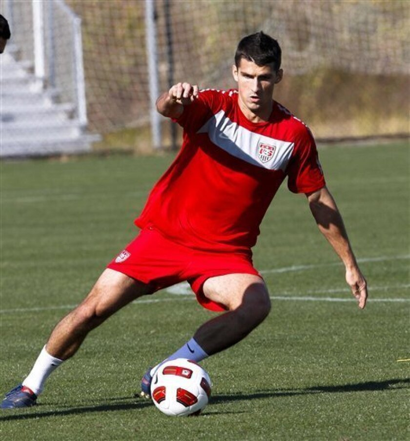 Eric Lichaj practices with the U.S. men's soccer team in Bridgeview, Ill., Monday, Oct. 4, 2010. The team is preparing for a Saturday night match against Poland in Chicago. (AP Photo/Charles Cherney)