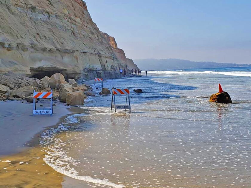 Local California State Parks officials posted on Facebook this photo on Saturday, Aug. 31, 2019 of the aftermath of a new bluff collapse at Torrey Pines State Beach, between Tower 1 and Flat Rock Beach in La Jolla.