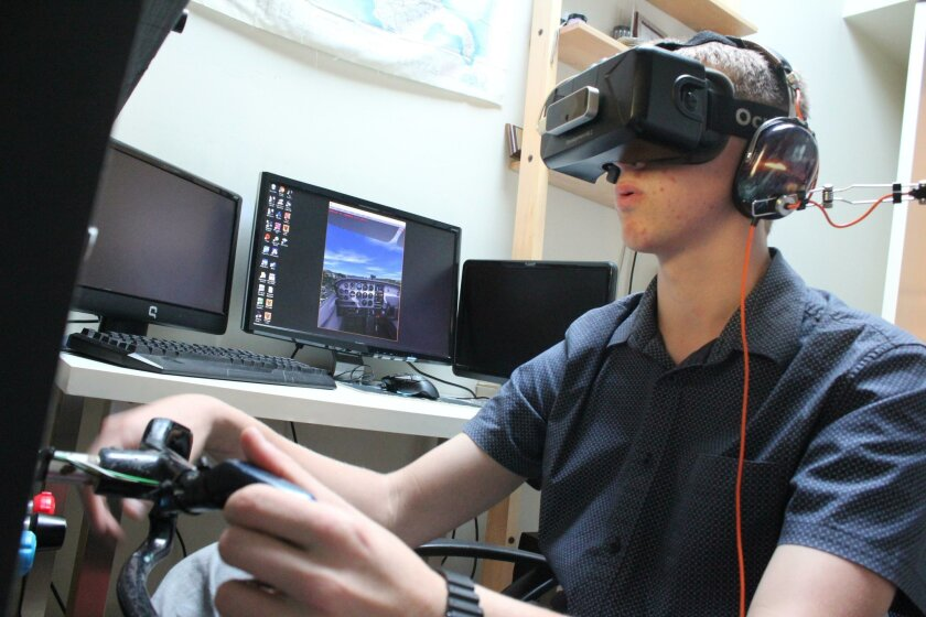 Aidan Fay saved money as he was building his cockpit to buy the developer's edition of Oculus' virtual reality 3-D goggles, so he could use them to gain a 360-degree view of the same flight simulator landscape that would otherwise appear only on his computer screen.