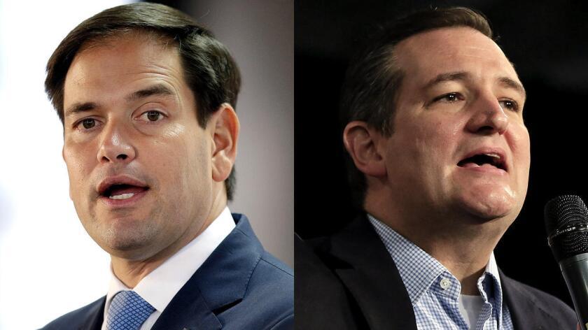 Marco Rubio y Ted Cruz, los precandidatos latinos a la presidencia de Estados Unidos.