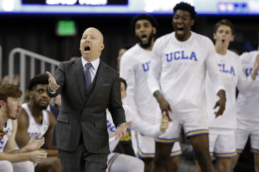 UCLA coach Mick Cronin argues a call during a game against Washington State on Feb. 13.