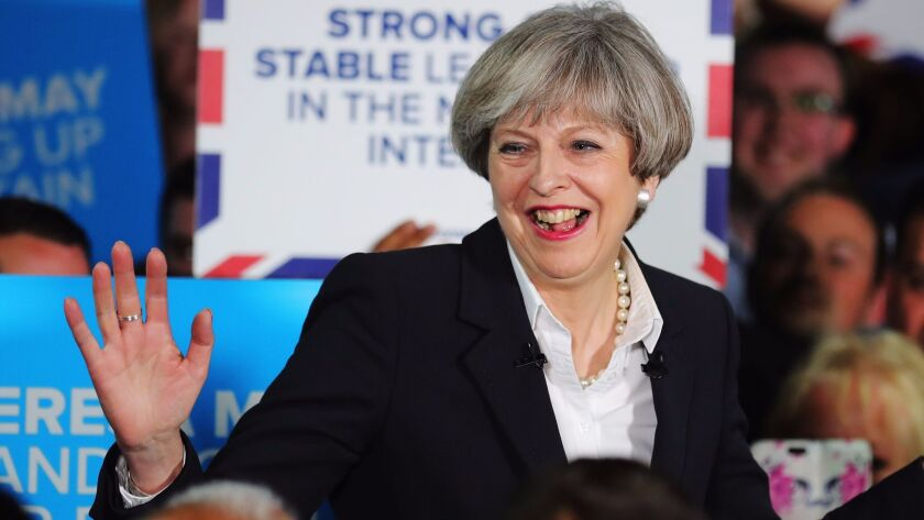 British Prime Minister Theresa May addresses supporters at the Provident Stadium in Bradford, Engla
