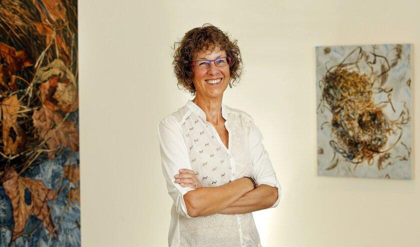 Artist Gail Roberts in her La Mesa studio.