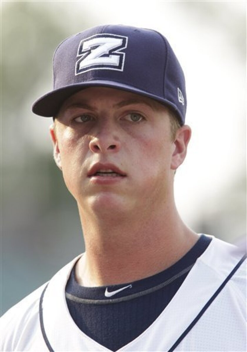In this photo taken June 4, 2011, New Orleans Zephyrs third baseman Matt Dominguez is photographed during a minor league baseball against the Nashville Sound in Metairie, La. Dominguez, a Florida Marlins major league baseball prospect, recently came back from an elbow injury and is currently starting at third base for the Triple-A Zephyrs. He is a former first-round draft choice. (AP Photo/Bill Haber)