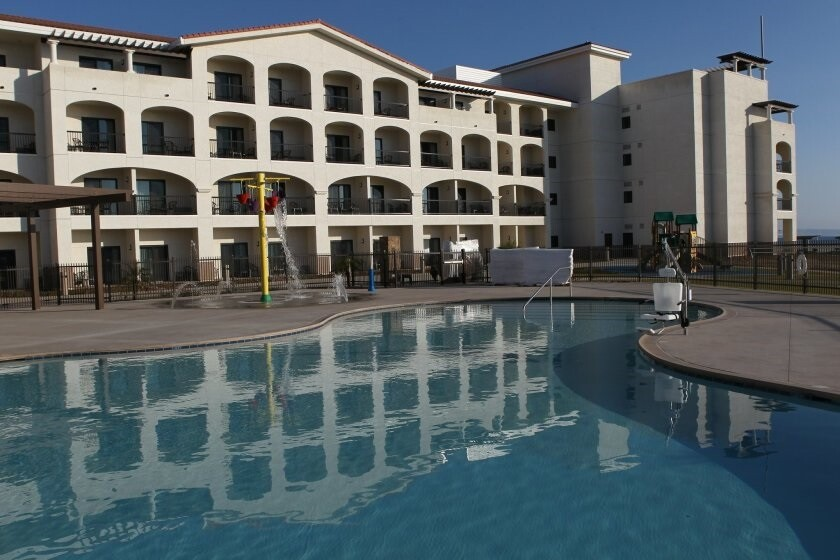 The swimming pool at the Coronado Navy Lodge. The city of Coronado opposes the amount of housing it would be forced to plan for under a proposed methodology that allocates housing units to jurisdictions in the county based on jobs and transit.