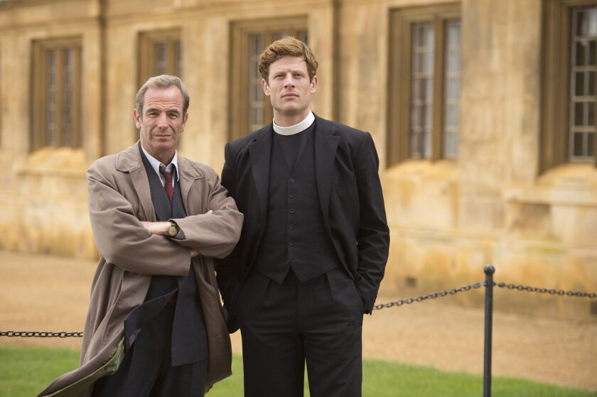 "Robson Green, left, is police detective Geordie Keating, and James Norton is sleuthing vicar Sidney Chambers in ""Grantchester."""