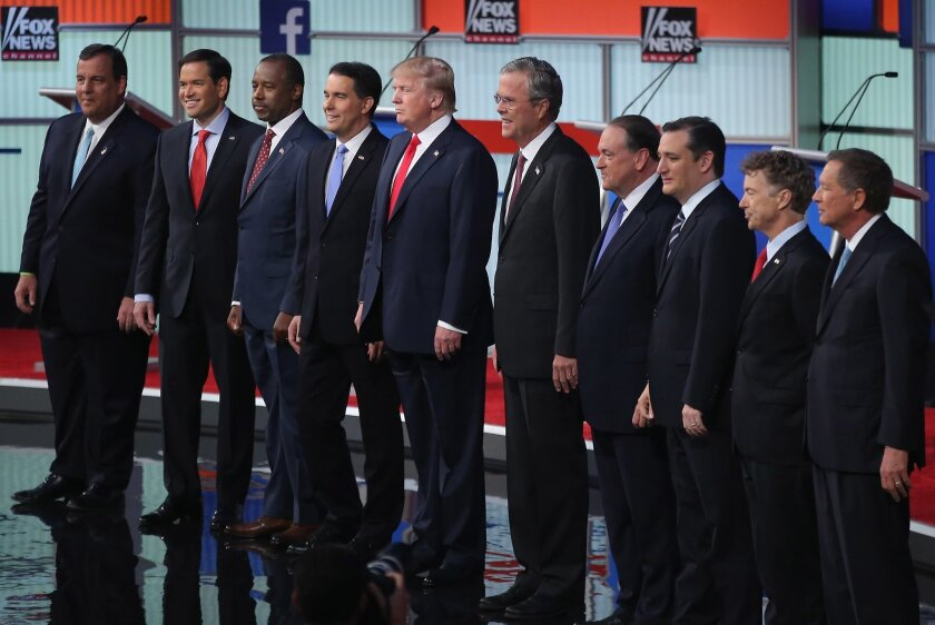 The 10 top-polling candidates in the first prime-time Republican presidential debate of the 2015-16 race, hosted by Fox News and Facebook on August 6, 2015, in Cleveland.