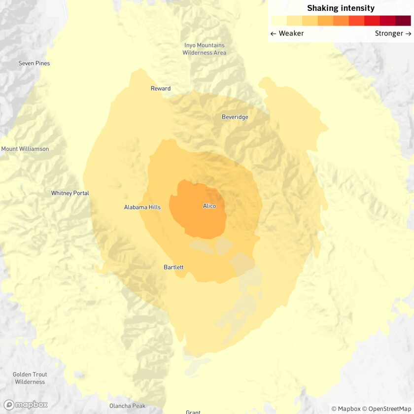 The earthquake occurred 63 miles from Ridgecrest.