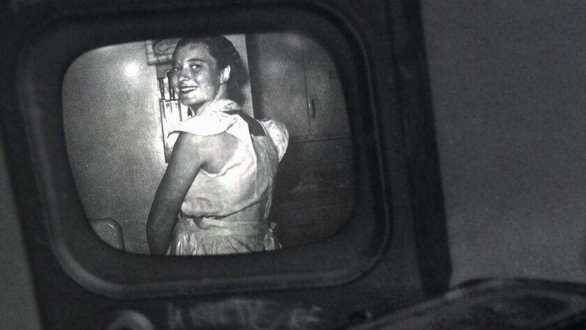 """An undated photo of Claire Boiko, photographed backstage on the set of """"Tic-Tac-Dough"""" in New York."""