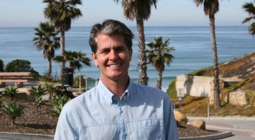 Solana Beach Mayor Mike Nichols at Fletcher Cove, which he designed as an employee of local landscape architecture firm M.W. Peltz. Photo: Ira Opper