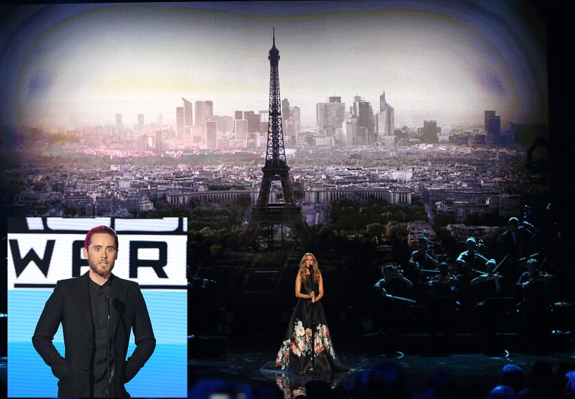 Celine Dion and Jared Leto  give tribute to Paris and more
