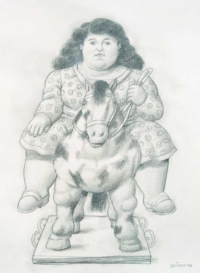 """Botero Girl"" is one of the pieces Tasende Gallery is preparing to show at its Petite Format exhibition opening June 26."