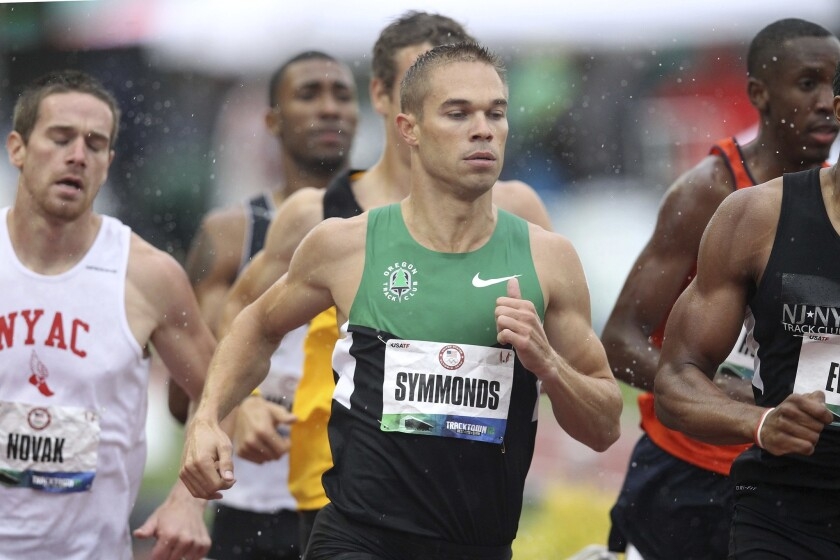 Nick Symmonds competes at the U.S. Olympic Track & Field team trials at Hayward Field on June 22, 2012.