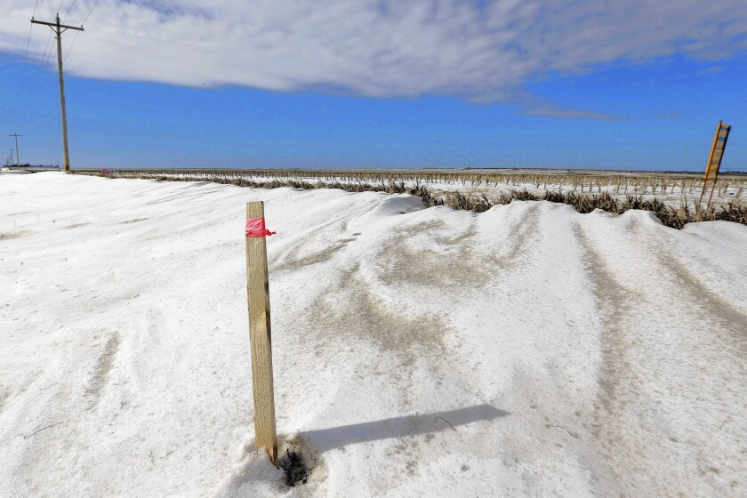 A stick marks the proposed route of the Keystone XL oil pipeline near Bradshaw, Neb. The Obama administration said Friday it would postpone any decision about the pipeline until after a state court decision that could affect its route.