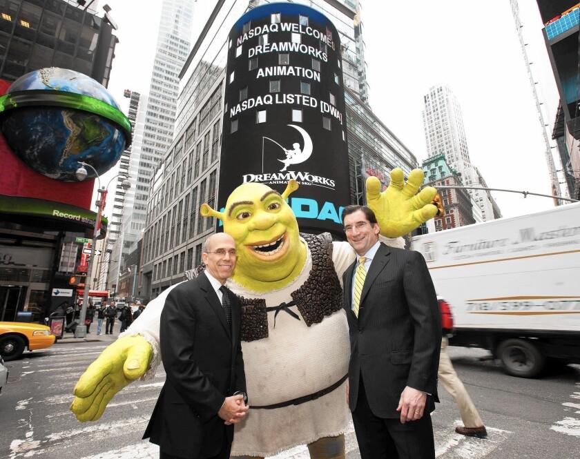 Jeffrey Katzenberg, left, the DreamWorks character Shrek and NASDAQ OMX CEO Bob Greifeld in 2009, when DreamWorks Animation's shares began trading on NASDAQ.