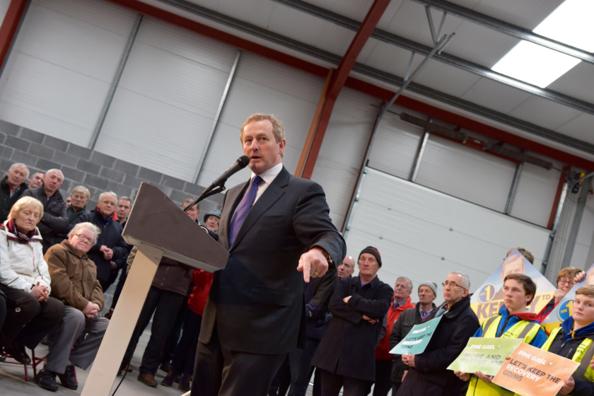 Irish Prime Minister Enda Kenny addresses Fine Gael party supporters in Castlebar.