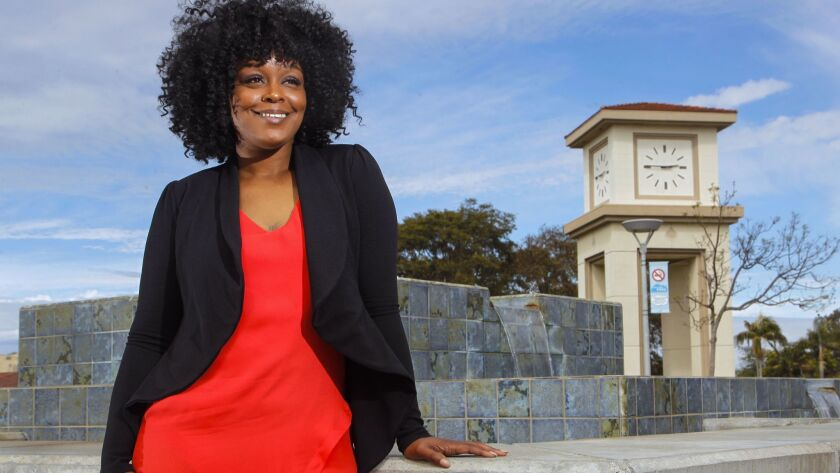 Edwina Williams on the campus of MiraCosta College in Oceanside, where she is a part-time sociology professor. She recently recieved the California Community Colleges' 2018 Hayward Award for excellence in teaching.