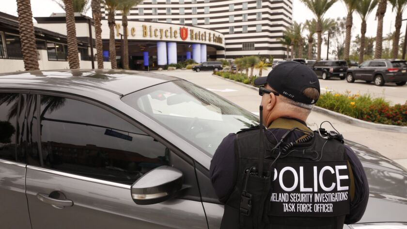 Federal authorities executed warrants as part of a criminal investigation at the Bicycle Hotel & Casino in Bell Gardens.
