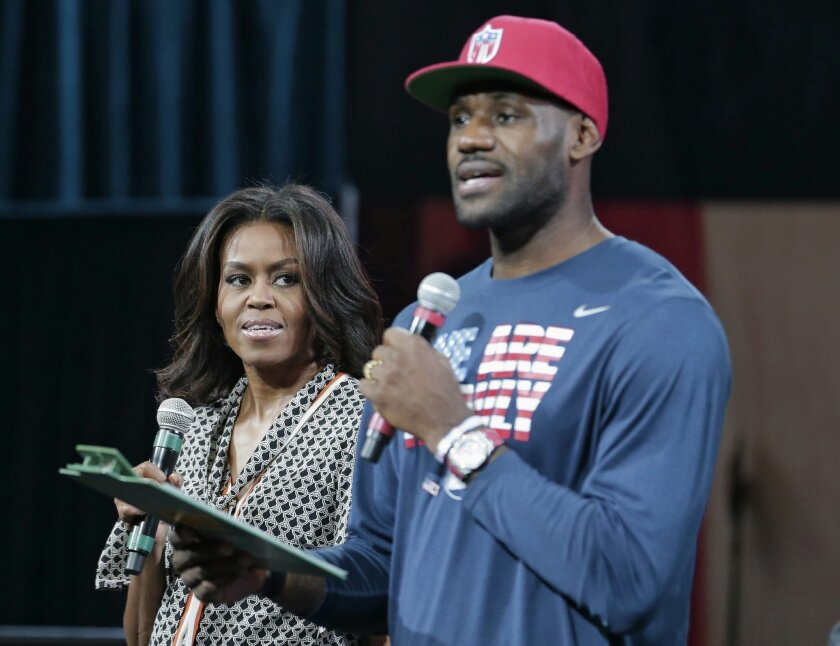 LeBron, first lady Michelle Obama promote education - The San ...