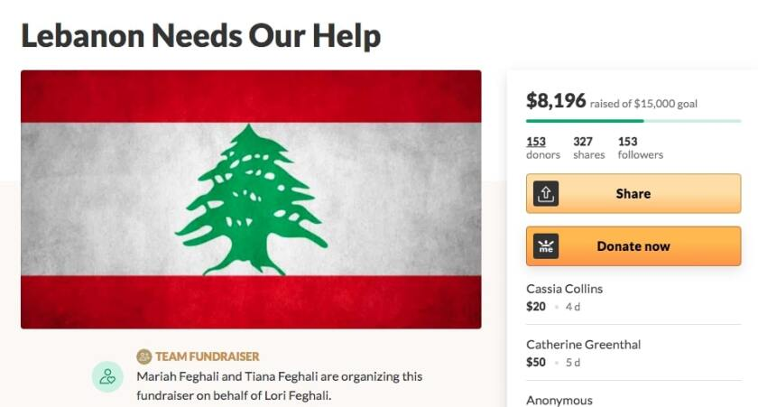 A GoFundMe by an Encinitas family is supporting Lebanon after the explosion in Beirut.