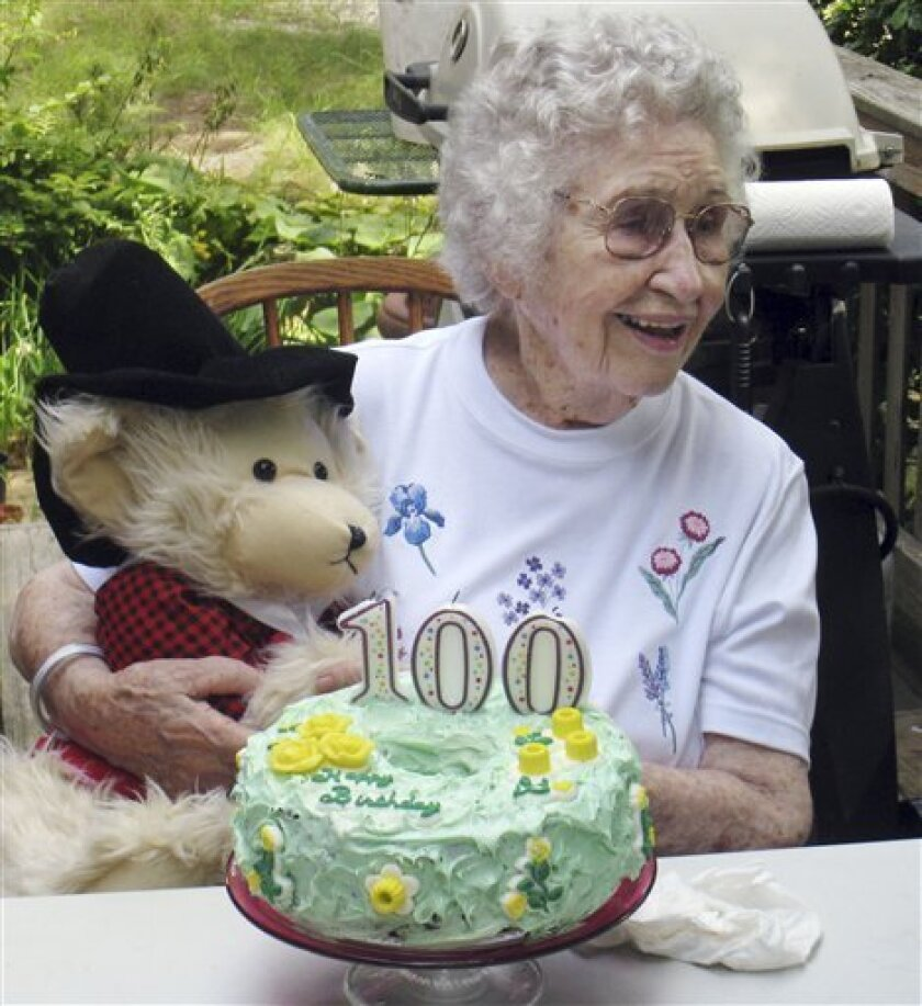 FILE - In this Aug. 21, 2009 file photo provided by Scott Barrow, his mother Elizabeth Barrow celebrates her 100th birthday at his home in Dartmouth, Mass. Elizabeth Barrow was found on Sept. 24 strangled in her Dartmouth nursing home bed with a plastic bag over her head. The Bristol County district attorney announced Dec. 11, 2009, that a grand jury had indicted Laura Lundquist, 98, with second degree murder in Barrow's death. (AP Photo/Scott Barrow, File)