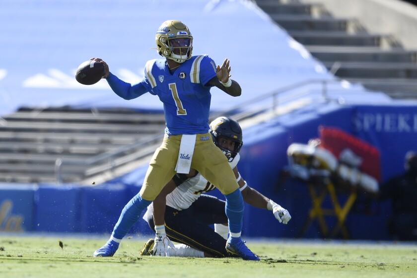 UCLA quarterback Dorian Thompson-Robinson looks to pass during a win over California.