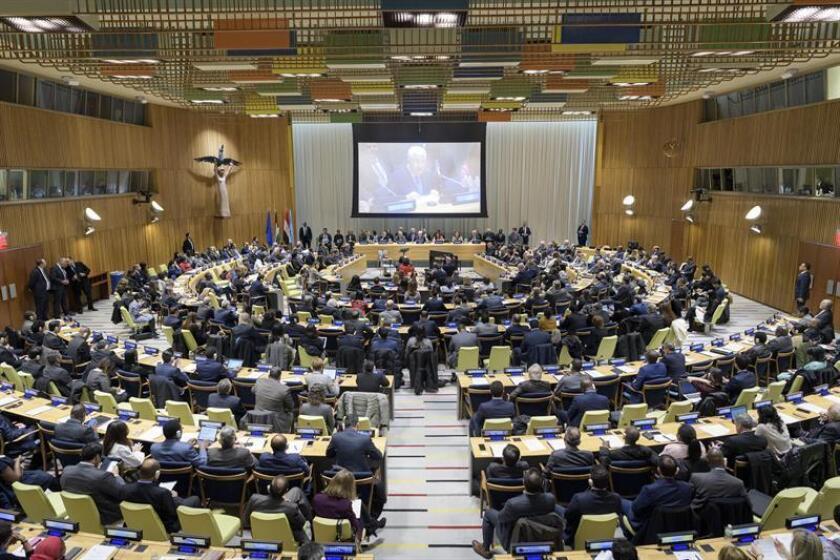 Fotografía cedida por la ONU de una vista general de la ceremonia de traspaso de la presidencia del Grupo de los 77 (G77) más China de Egipto a Palestina hoy en la sede del organismo en Nueva York (EE.UU.). EFE/Manuel Elias/ONU/SOLO USO EDITORIAL/NO VENTAS