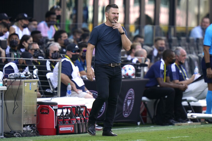 Galaxy coach Greg Vanney watches his team play Inter Miami