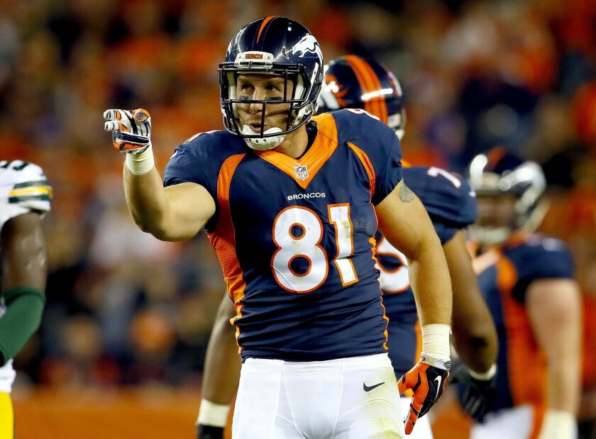 Denver Broncos tight end Owen Daniels (81) signals first down against the Green Bay Packers during the first half of an NFL football game, Sunday, Nov. 1, 2015, in Denver. (AP Photo/Joe Mahoney)