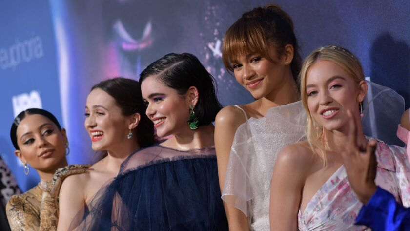 "Alexa Demie, from left, Maude Apatow, Barbie Ferreira, Zendaya and Sydney Sweeney attend the Los Angeles premiere of the new HBO series ""Euphoria"" at the Cinerama Dome theater in Hollywood on June 4."