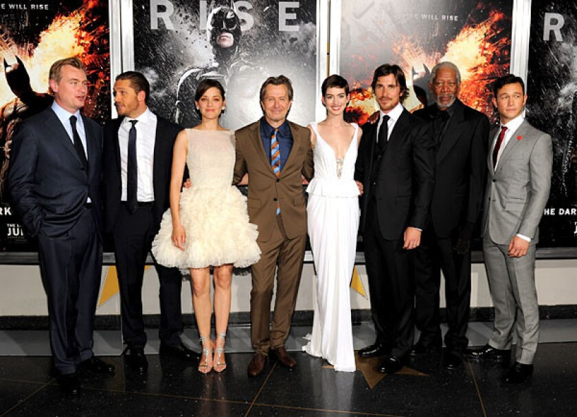 """The stars came out as the long-anticipated """"The Dark Knight Rises"""" finally emerged and had its Gotham, er, New York, premiere. Christopher Nolan, Tom Hardy, Marion Cotillard, Gary Oldman, Anne Hathaway, Christian Bale, Morgan Freeman and Joseph Gordon-Levitt pose together at AMC Lincoln Square Theater."""