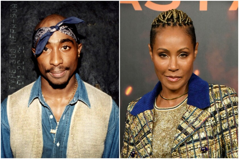 A split image of a man wearing a bandana and vest on the left and a woman wearing a checkered suit on the right