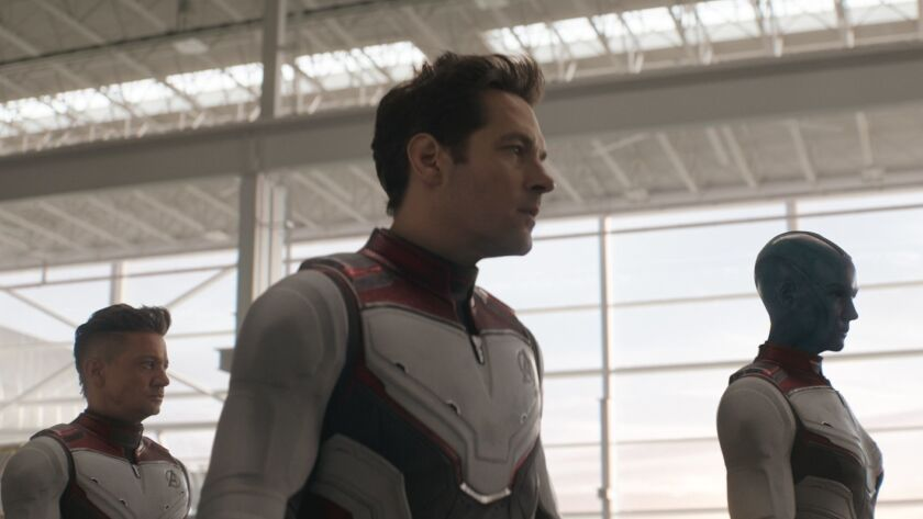 L to R: Hawkeye/Clint Barton (Jeremy Renner), Ant-Man/Scott Lang (Paul Rudd) and Nebula (Karen Gilla