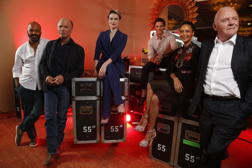 """Jeffrey Wright, from left, Ed Harris, Evan Rachel Wood, James Marsden, Thandie Newton and Anthony Hopkins make up some of the cast of HBO's new series, """"Westworld."""" The actors were photographed in Beverly Hills on July 30."""
