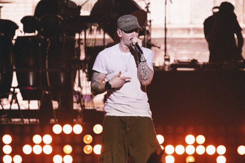 Eminem performs at the G-SHOCK 30th-anniversary event in New York.