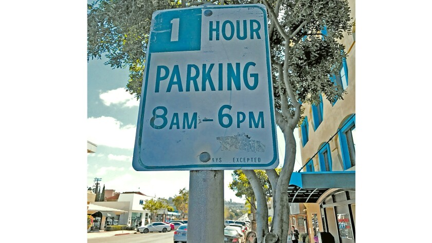 One hour parking on Fay Avenue near a former yoga studio in La Jolla