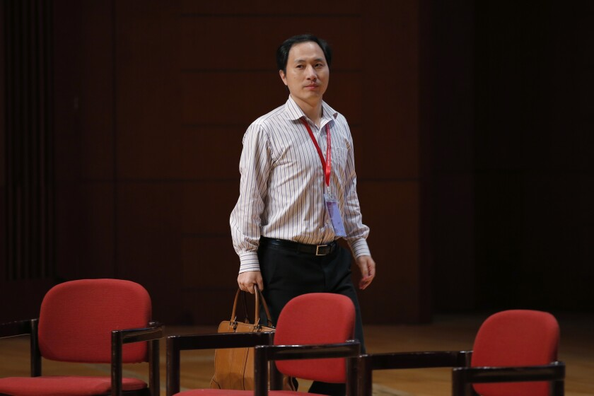 Genetic researcher He Jiankui arrives at the Human Genome Editing Conference in Hong Kong in November 2018.